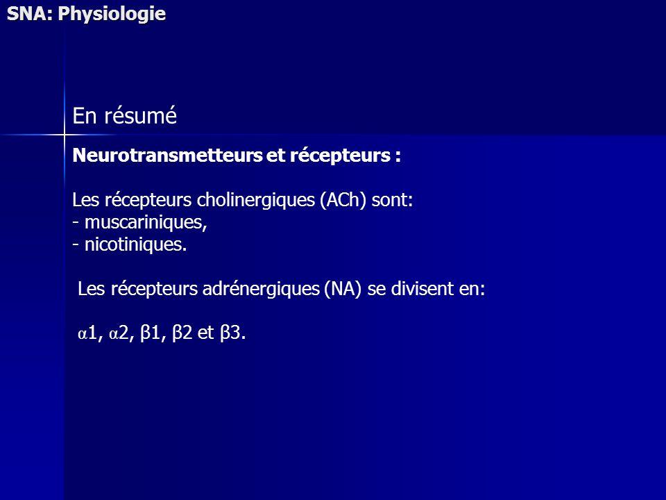 SNA: Physiologie En résumé Neurotransmetteurs et récepteurs : Les récepteurs cholinergiques (ACh) sont: - muscariniques, - nicotiniques. Les récepteur