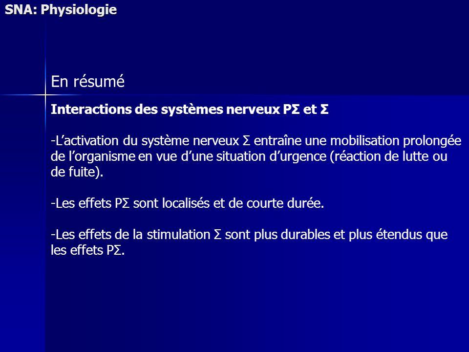 SNA: Physiologie En résumé Interactions des systèmes nerveux PΣ et Σ -Lactivation du système nerveux Σ entraîne une mobilisation prolongée de lorganis