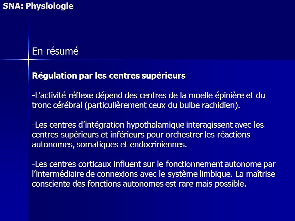 SNA: Physiologie En résumé Régulation par les centres supérieurs -Lactivité réflexe dépend des centres de la moelle épinière et du tronc cérébral (par