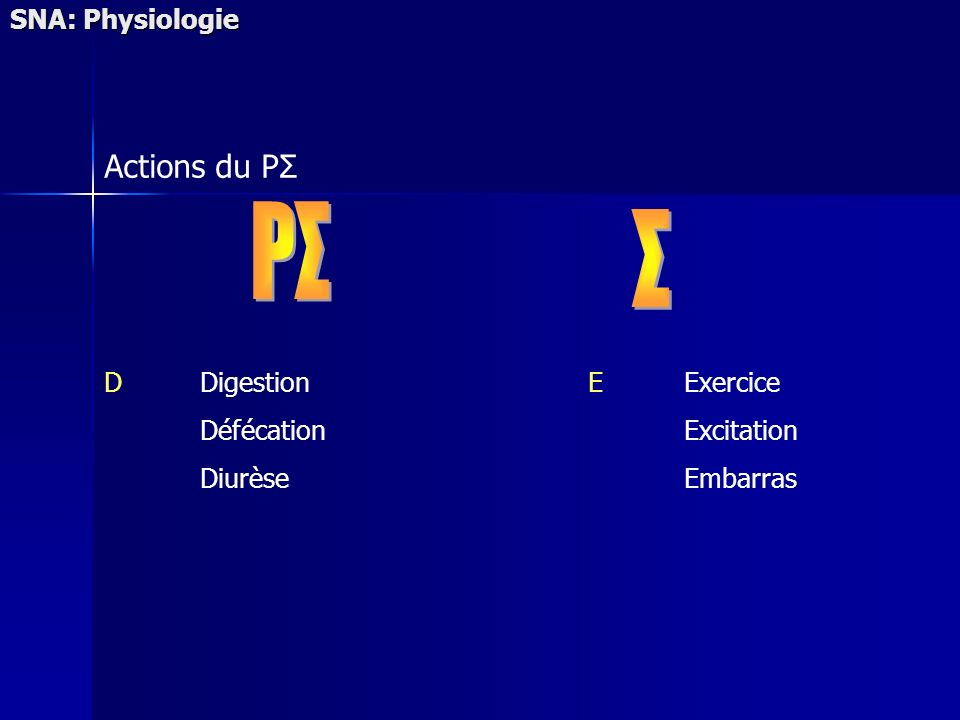 SNA: Physiologie Actions du PΣ DDigestion Défécation Diurèse EExercice Excitation Embarras