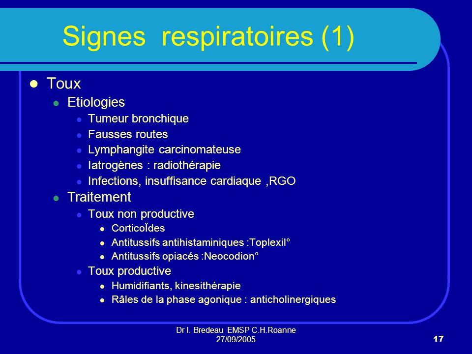 Dr I. Bredeau EMSP C.H.Roanne 27/09/200517 Signes respiratoires (1) Toux Etiologies Tumeur bronchique Fausses routes Lymphangite carcinomateuse Iatrog