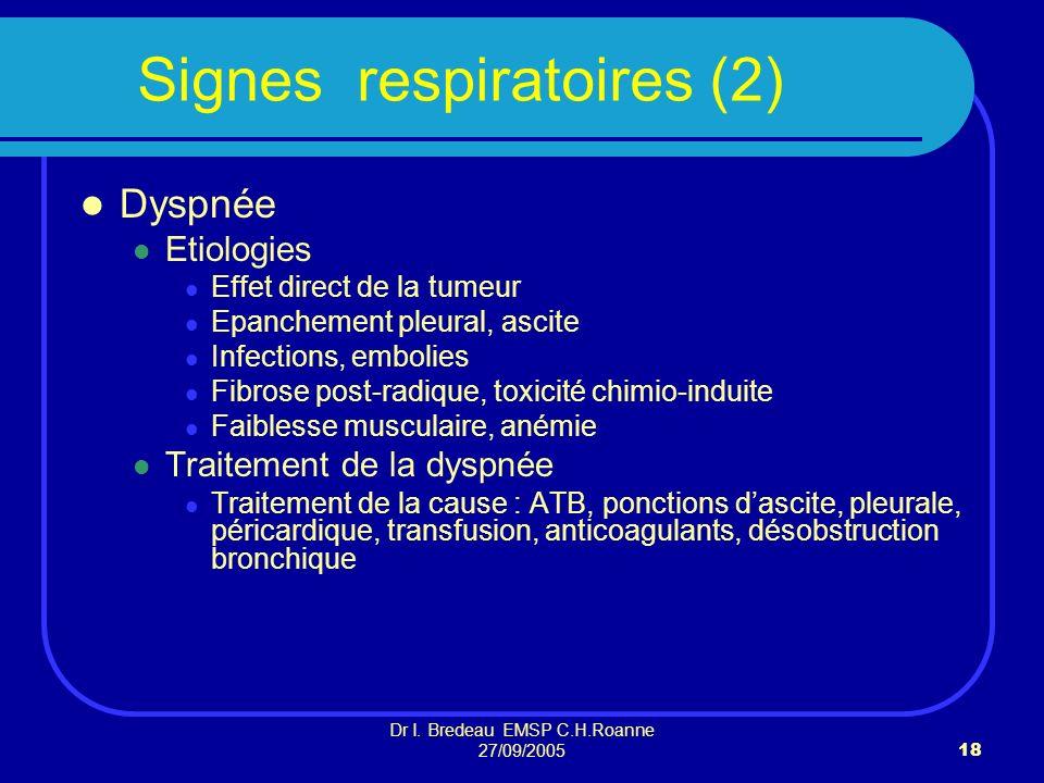 Dr I. Bredeau EMSP C.H.Roanne 27/09/200518 Signes respiratoires (2) Dyspnée Etiologies Effet direct de la tumeur Epanchement pleural, ascite Infection