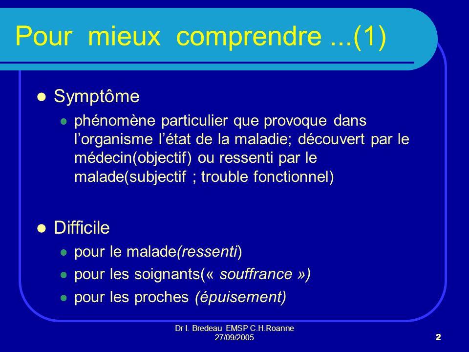 Dr I. Bredeau EMSP C.H.Roanne 27/09/20052 Pour mieux comprendre...(1) Symptôme phénomène particulier que provoque dans lorganisme létat de la maladie;