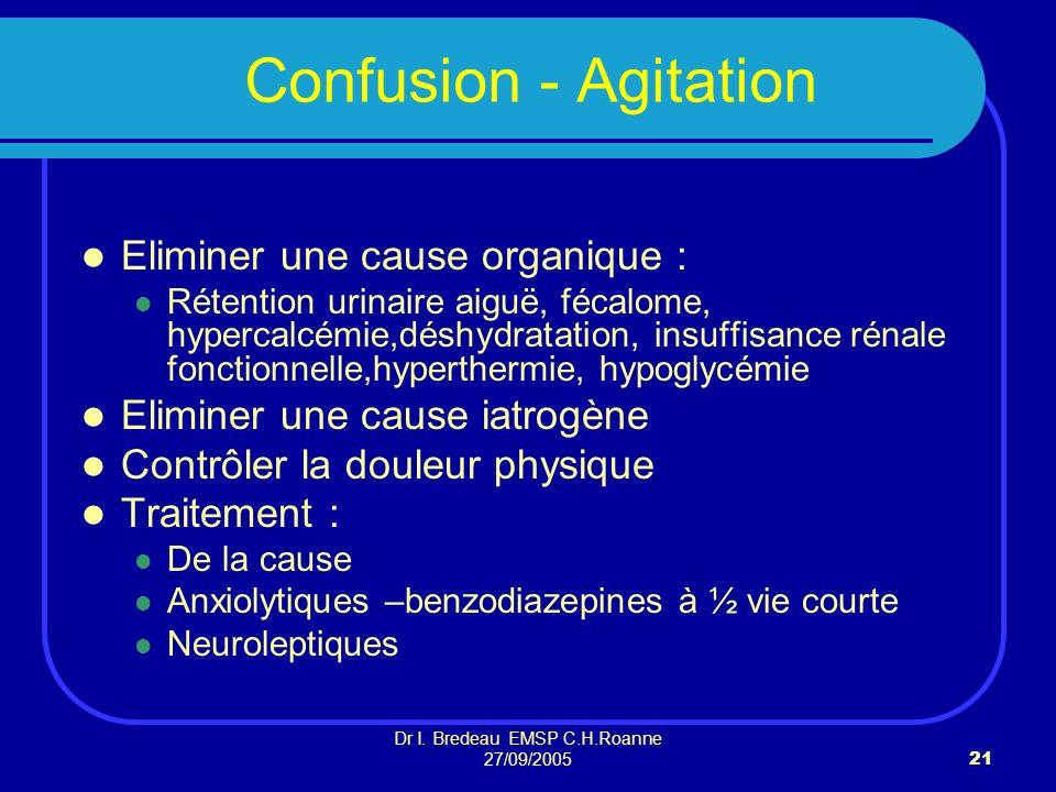 Dr I. Bredeau EMSP C.H.Roanne 27/09/200521 Confusion - Agitation Eliminer une cause organique : Rétention urinaire aiguë, fécalome, hypercalcémie,désh