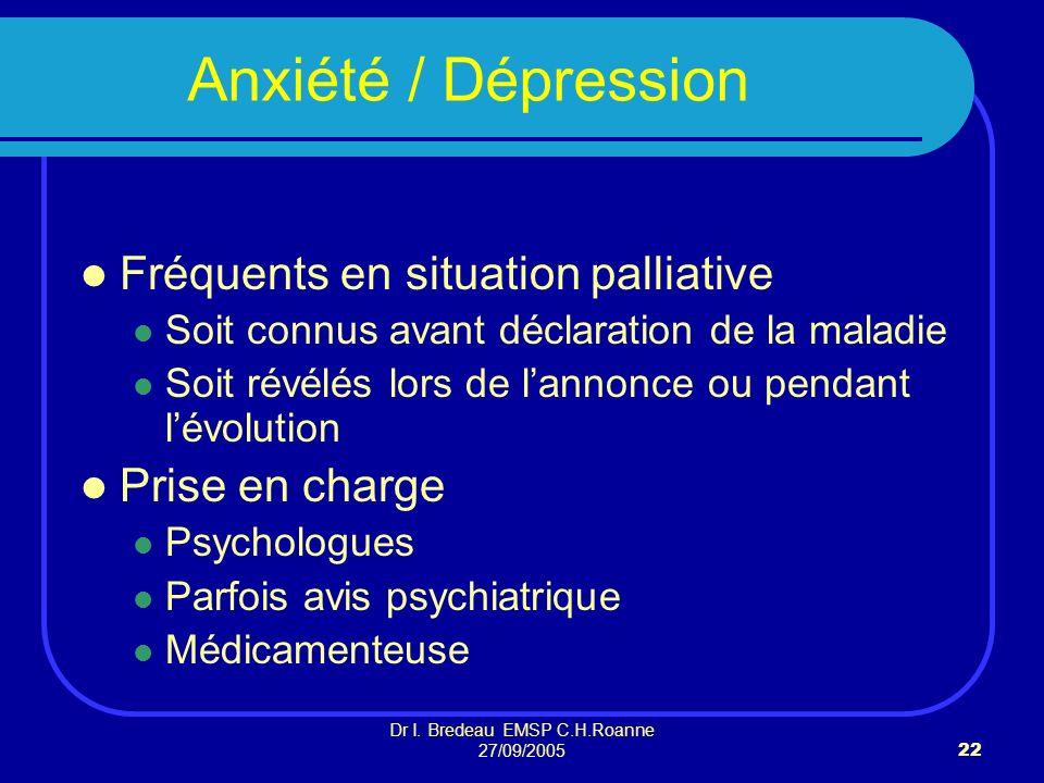 Dr I. Bredeau EMSP C.H.Roanne 27/09/200522 Anxiété / Dépression Fréquents en situation palliative Soit connus avant déclaration de la maladie Soit rév