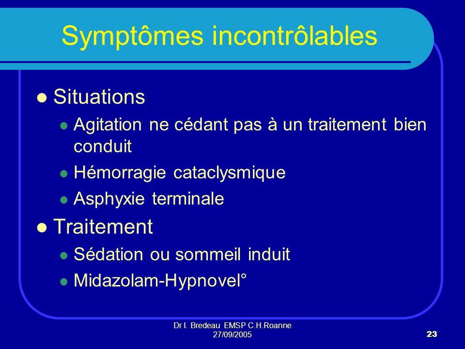 Dr I. Bredeau EMSP C.H.Roanne 27/09/200523 Symptômes incontrôlables Situations Agitation ne cédant pas à un traitement bien conduit Hémorragie catacly