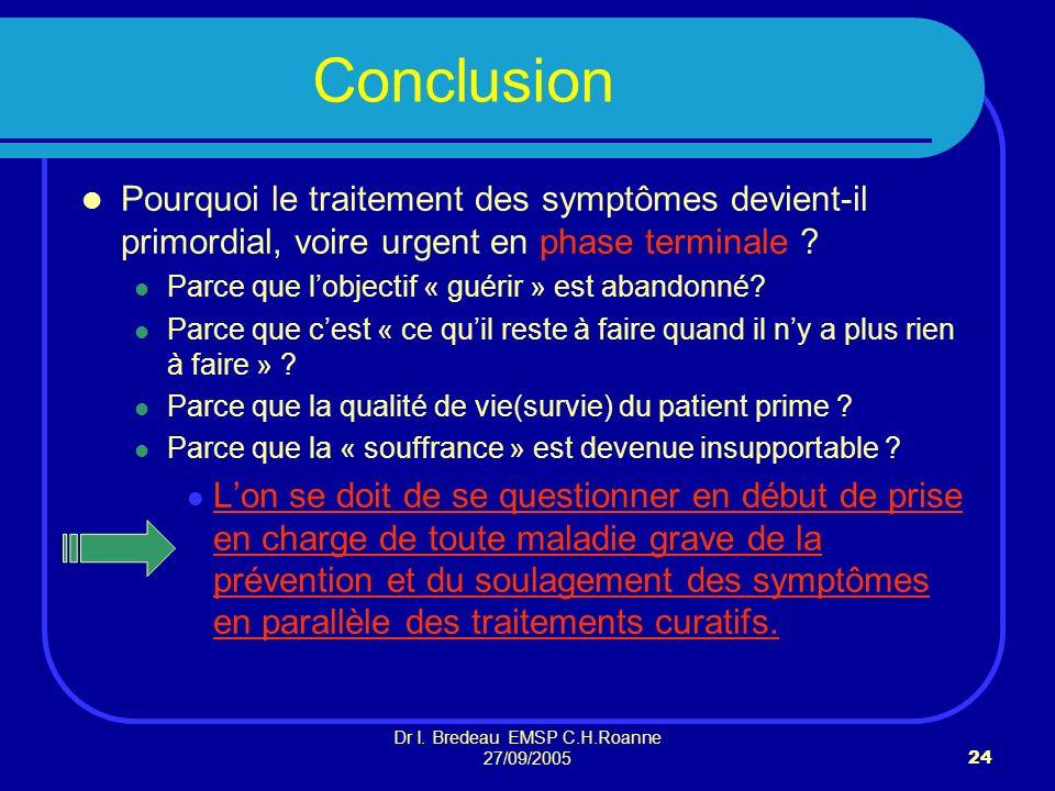 Dr I. Bredeau EMSP C.H.Roanne 27/09/200524 Conclusion Pourquoi le traitement des symptômes devient-il primordial, voire urgent en phase terminale ? Pa