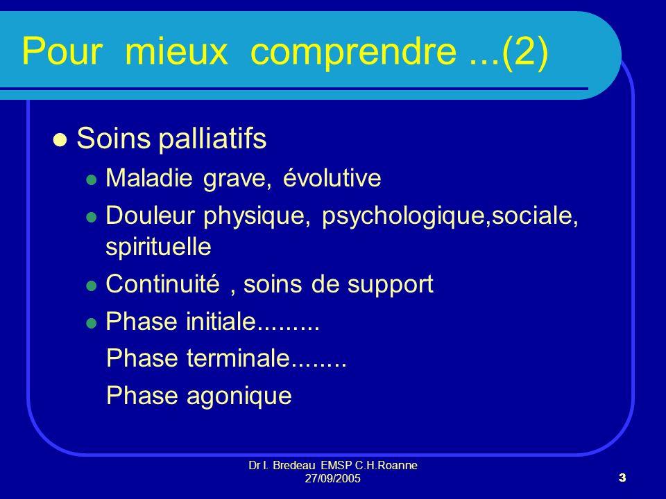 Dr I. Bredeau EMSP C.H.Roanne 27/09/20053 Pour mieux comprendre...(2) Soins palliatifs Maladie grave, évolutive Douleur physique, psychologique,social