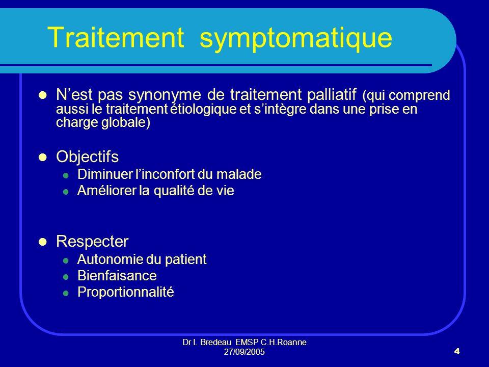 Dr I. Bredeau EMSP C.H.Roanne 27/09/20054 Traitement symptomatique Nest pas synonyme de traitement palliatif (qui comprend aussi le traitement étiolog