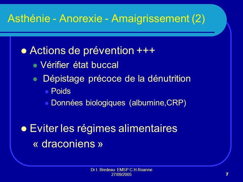 Dr I. Bredeau EMSP C.H.Roanne 27/09/20057 Asthénie - Anorexie - Amaigrissement (2) Actions de prévention +++ Vérifier état buccal Dépistage précoce de