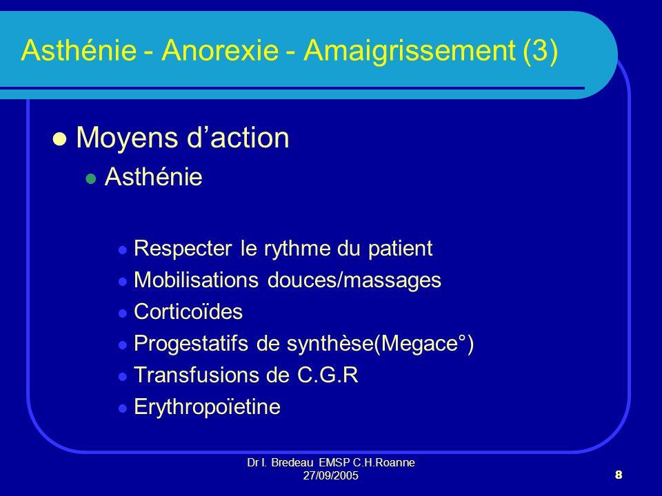 Dr I. Bredeau EMSP C.H.Roanne 27/09/20058 Asthénie - Anorexie - Amaigrissement (3) Moyens daction Asthénie Respecter le rythme du patient Mobilisation