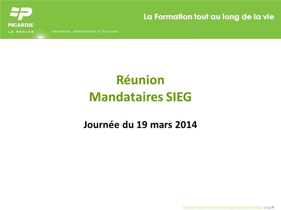 Direction de la Formation Continue et de lApprentissage page 1 La Formation tout au long de la vie Réunion Mandataires SIEG Journée du 19 mars 2014