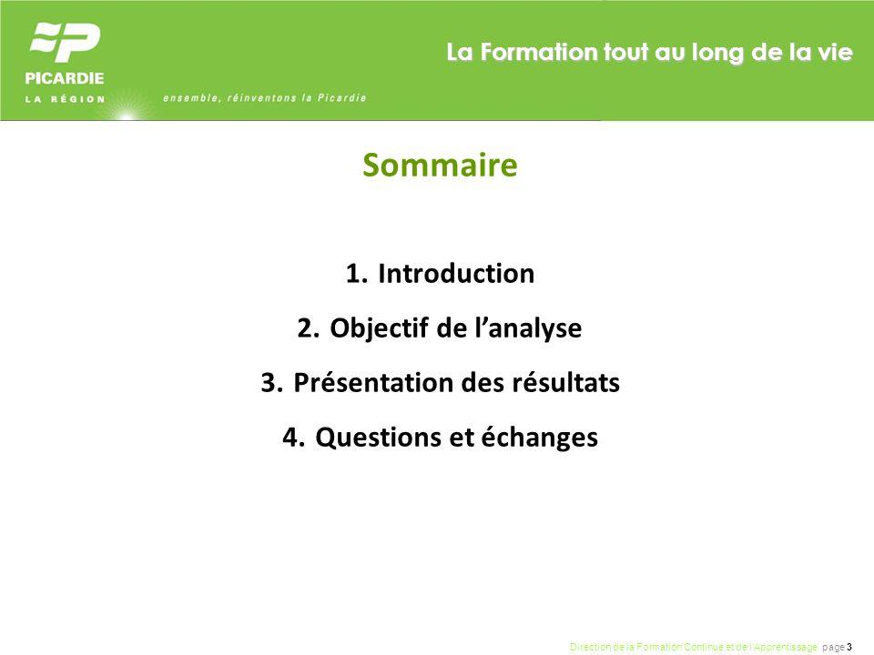 Direction de la Formation Continue et de lApprentissage page 3 La Formation tout au long de la vie Sommaire 1.Introduction 2.Objectif de lanalyse 3.Pr