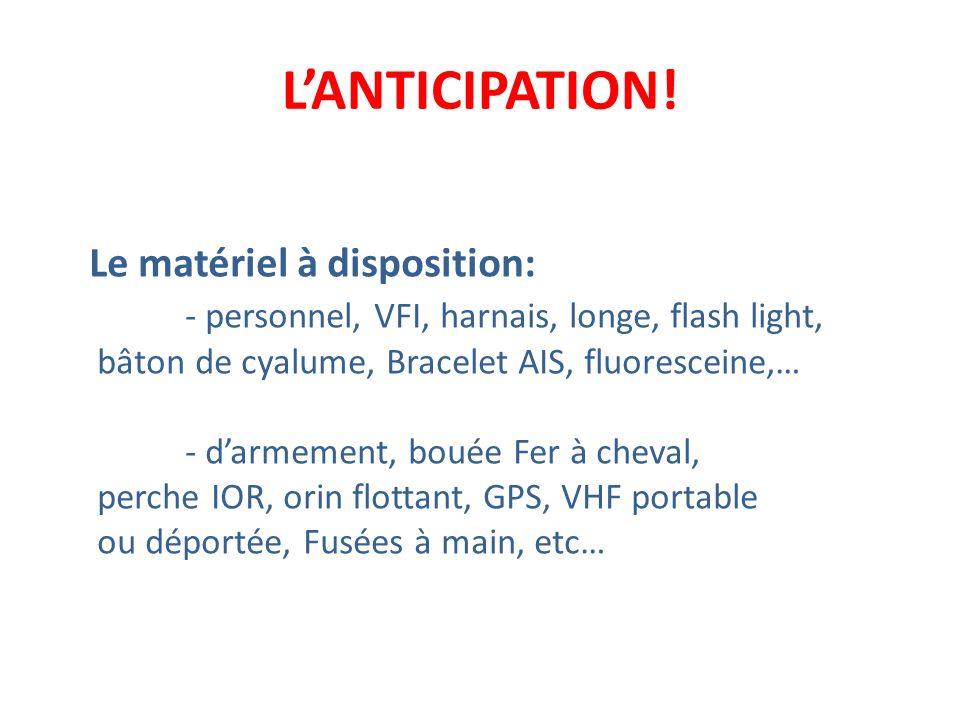 LANTICIPATION! Le matériel à disposition: - personnel, VFI, harnais, longe, flash light, bâton de cyalume, Bracelet AIS, fluoresceine,… - darmement, b