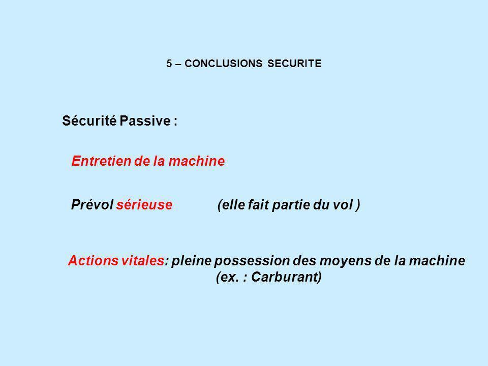 5 – CONCLUSIONS SECURITE Entretien de la machine Sécurité Passive : Prévol sérieuse (elle fait partie du vol ) Actions vitales: pleine possession des moyens de la machine (ex.