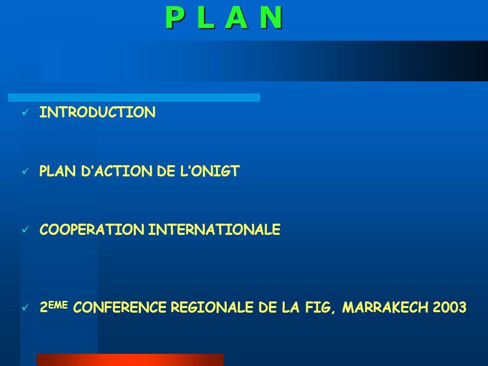 INTRODUCTION PLAN DACTION DE LONIGT COOPERATION INTERNATIONALE 2 EME CONFERENCE REGIONALE DE LA FIG, MARRAKECH 2003 P L A N