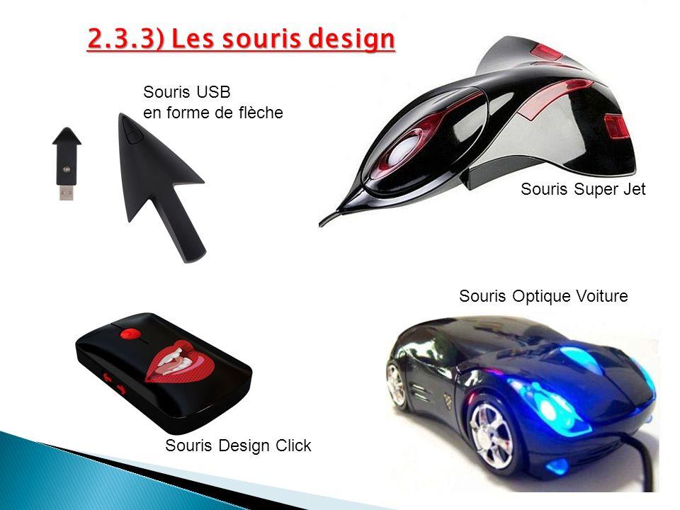 2.3.3) Les souris design Souris Super Jet Souris USB en forme de flèche Souris Design Click Souris Optique Voiture