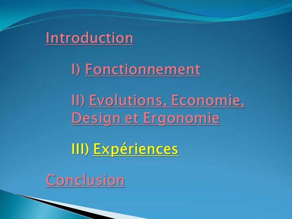 Introduction I) Fonctionnement II) Evolutions, Economie, Design et Ergonomie III) Expériences Conclusion