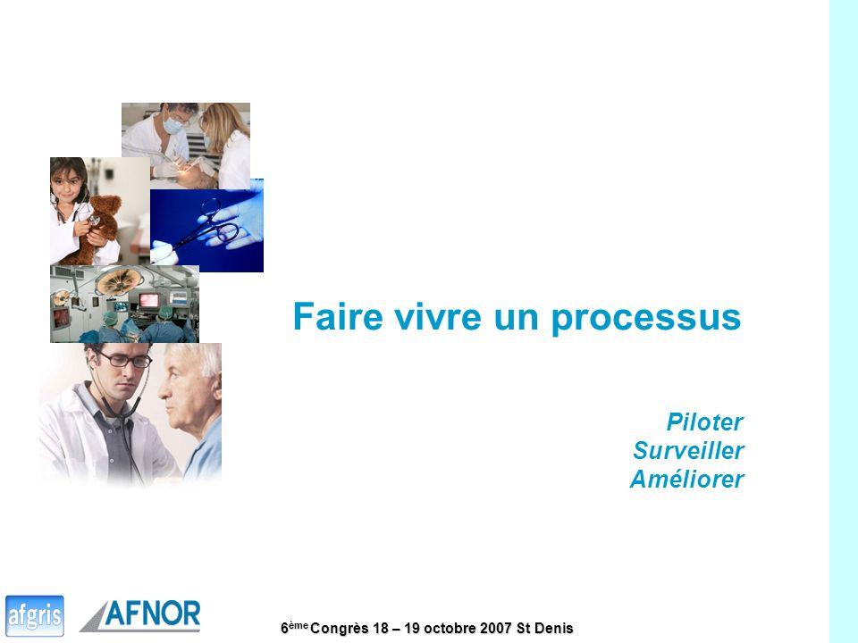 6 ème Congrès 18 – 19 octobre 2007 St Denis 13 Faire vivre un processus Piloter Surveiller Améliorer