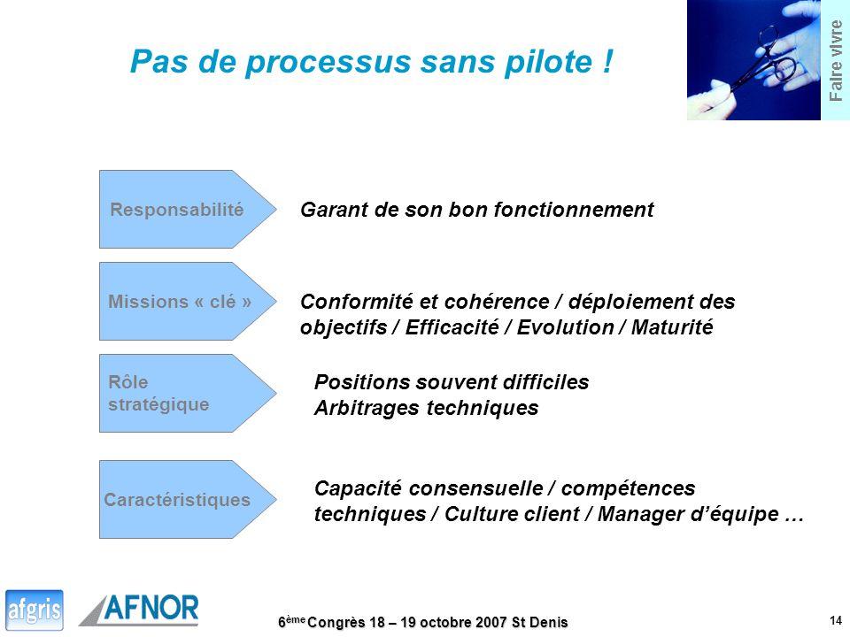 6 ème Congrès 18 – 19 octobre 2007 St Denis 14 Faire vivre Pas de processus sans pilote ! Responsabilité Garant de son bon fonctionnement Missions « c