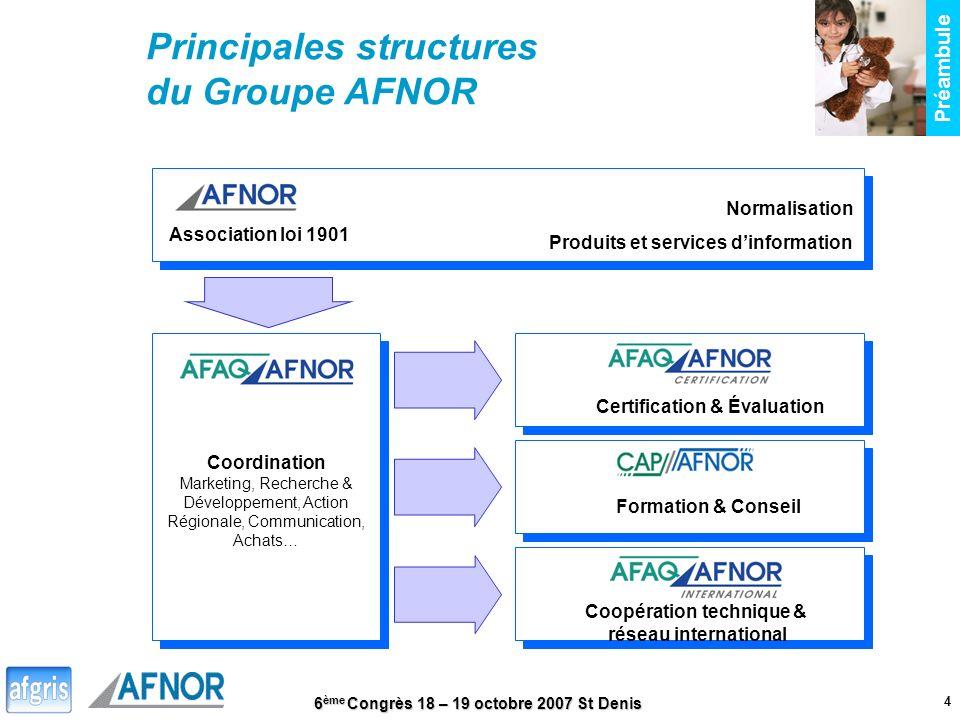 6 ème Congrès 18 – 19 octobre 2007 St Denis 4 Association loi 1901 Coordination Marketing, Recherche & Développement, Action Régionale, Communication,