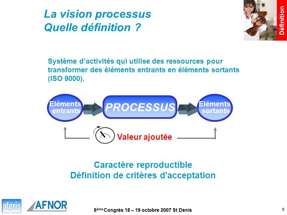 6 ème Congrès 18 – 19 octobre 2007 St Denis 8 Définition La vision processus Quelle définition ? Système dactivités qui utilise des ressources pour tr