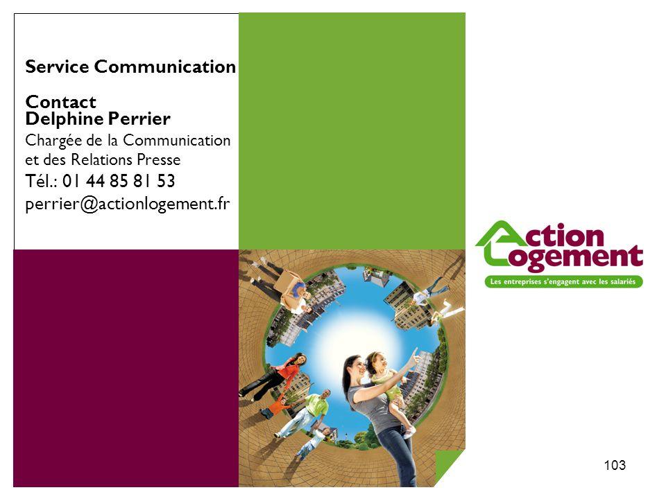 Congrès USH 2010 à Strasbourg103 Service Communication Contact Delphine Perrier Chargée de la Communication et des Relations Presse Tél.: 01 44 85 81