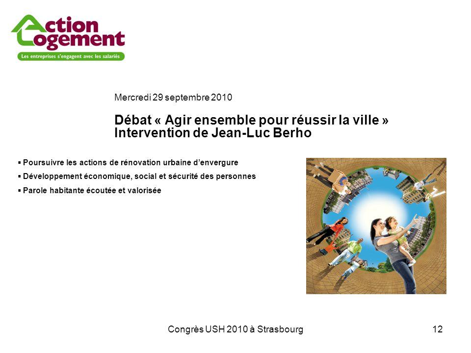 Congrès USH 2010 à Strasbourg12 Mercredi 29 septembre 2010 Débat « Agir ensemble pour réussir la ville » Intervention de Jean-Luc Berho Poursuivre les