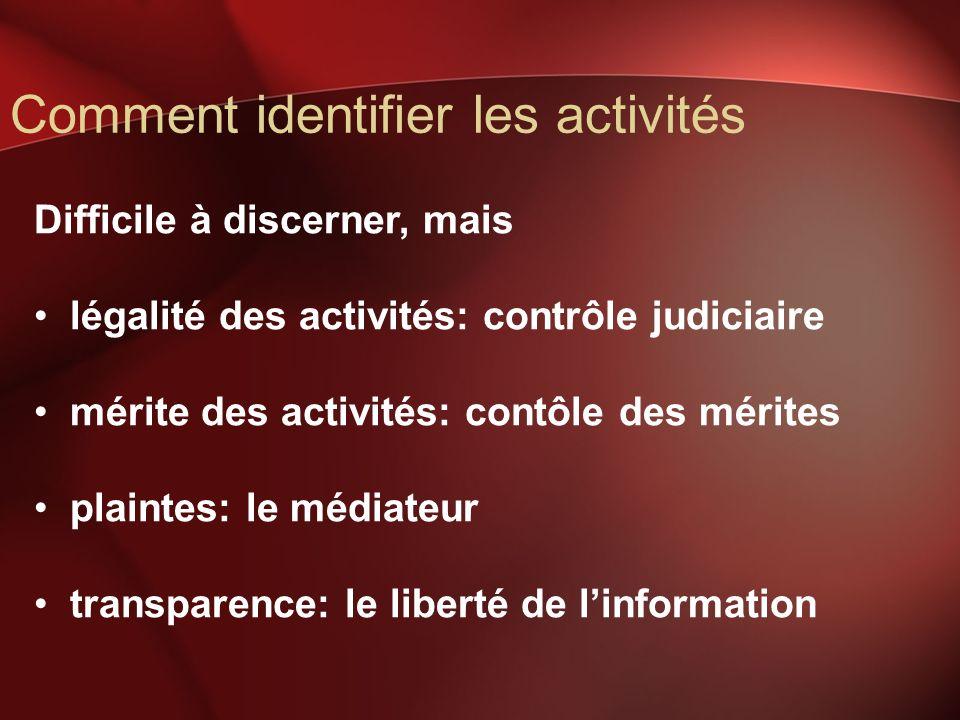 Comment identifier les activités Difficile à discerner, mais légalité des activités: contrôle judiciaire mérite des activités: contôle des mérites plaintes: le médiateur transparence: le liberté de linformation