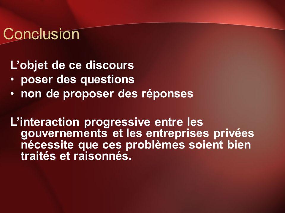 Conclusion Lobjet de ce discours poser des questions non de proposer des réponses Linteraction progressive entre les gouvernements et les entreprises
