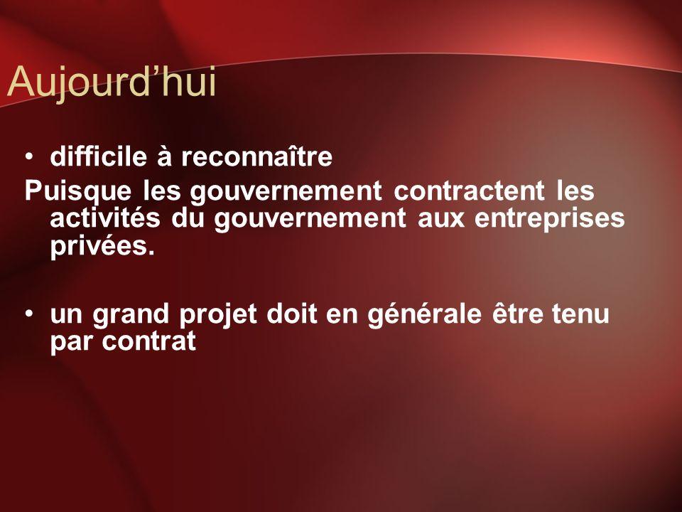Aujourdhui difficile à reconnaître Puisque les gouvernement contractent les activités du gouvernement aux entreprises privées.