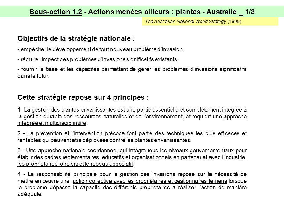 Sous-action 1.2 - Actions menées ailleurs : plantes - Australie _ 1/3 3 - Une approche nationale coordonnée, qui intègre tous les niveaux gouvernementaux pour établir des cadres réglementaires, éducatifs et organisationnels en partenariat avec lindustrie, les propriétaires fonciers et le réseau associatif.