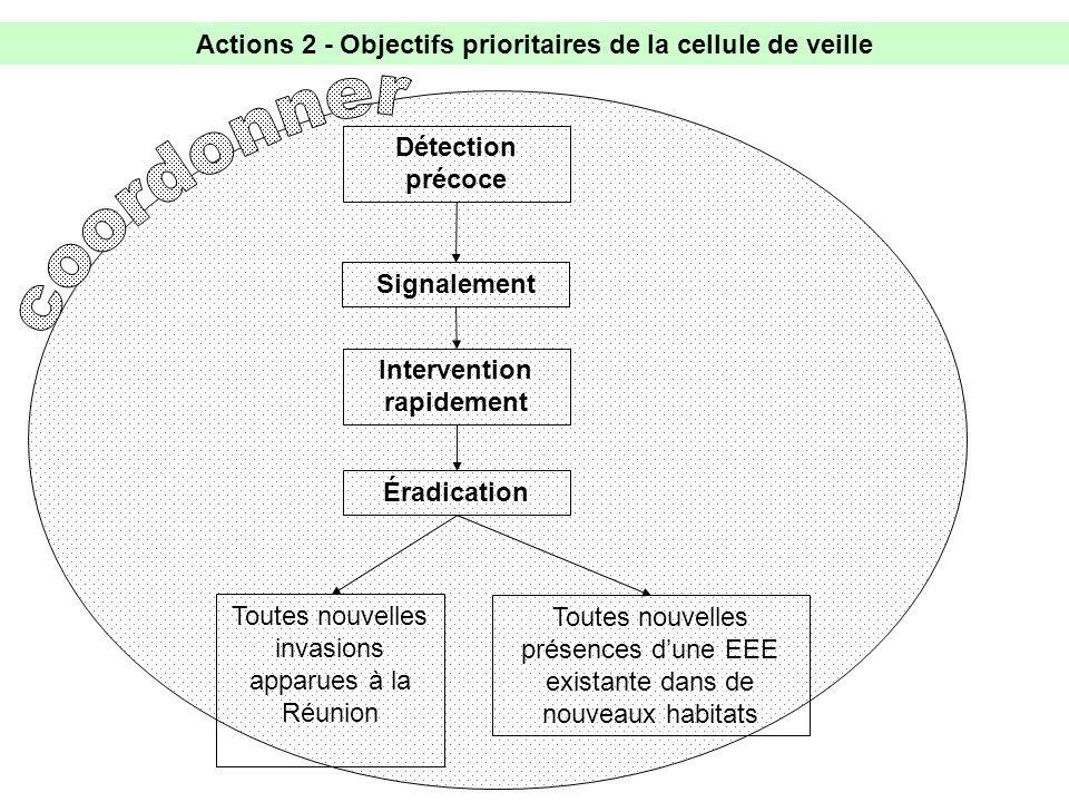 Actions 2 - Objectifs prioritaires de la cellule de veille Éradication Détection précoce Toutes nouvelles présences dune EEE existante dans de nouveaux habitats Toutes nouvelles invasions apparues à la Réunion Intervention rapidement Signalement
