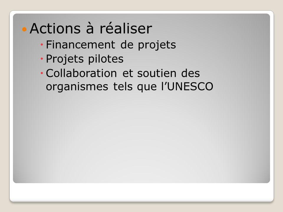 Actions à réaliser Financement de projets Projets pilotes Collaboration et soutien des organismes tels que lUNESCO