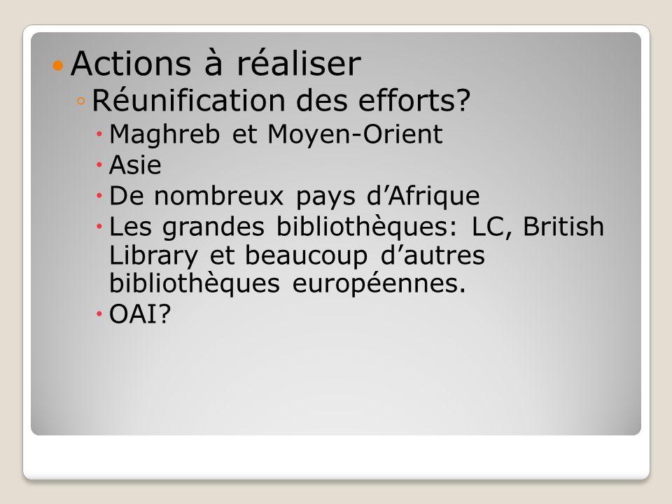 Actions à réaliser Réunification des efforts? Maghreb et Moyen-Orient Asie De nombreux pays dAfrique Les grandes bibliothèques: LC, British Library et
