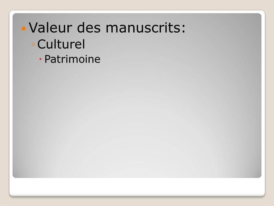 Valeur des manuscrits: Culturel Patrimoine
