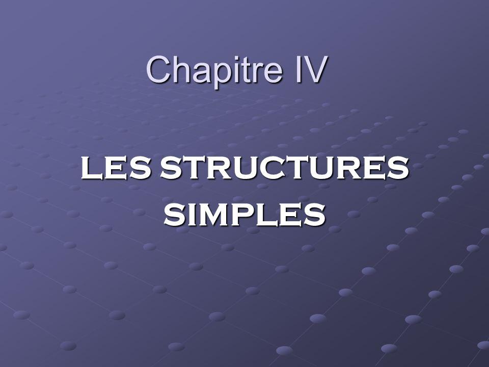 Chapitre IV LES STRUCTURES SIMPLES