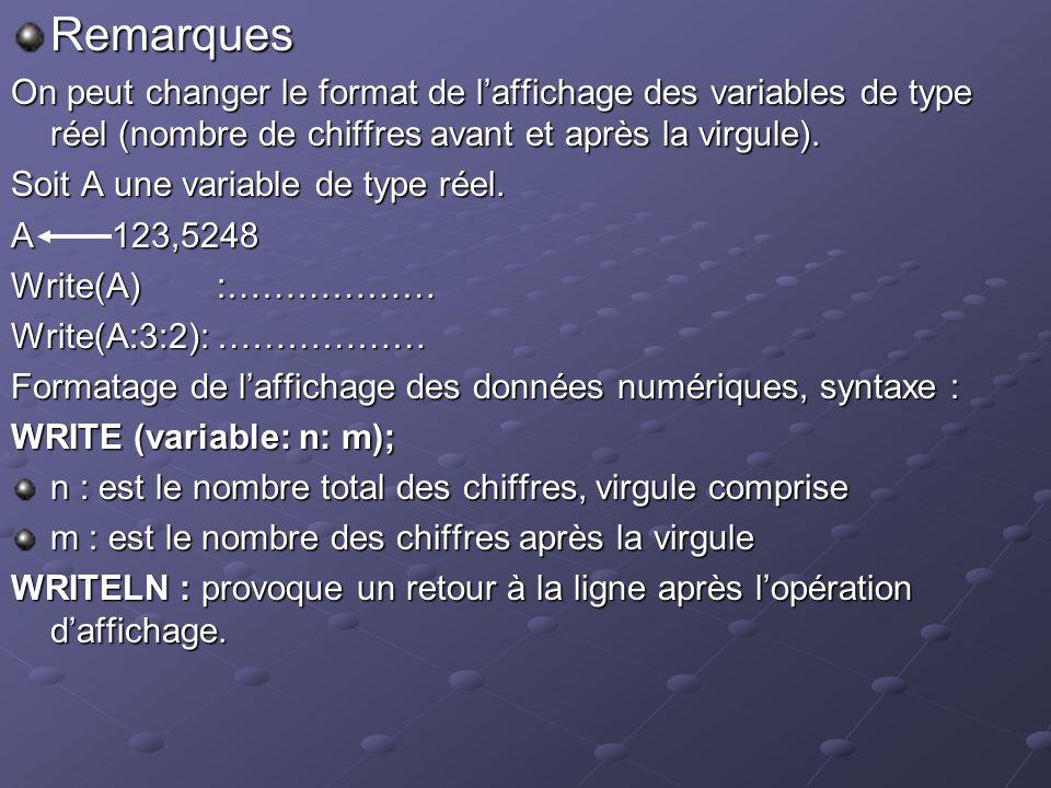 Remarques On peut changer le format de laffichage des variables de type réel (nombre de chiffres avant et après la virgule).