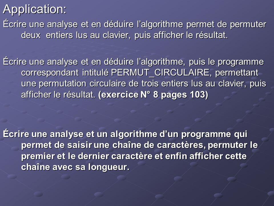 Application: Écrire une analyse et en déduire lalgorithme permet de permuter deux entiers lus au clavier, puis afficher le résultat.