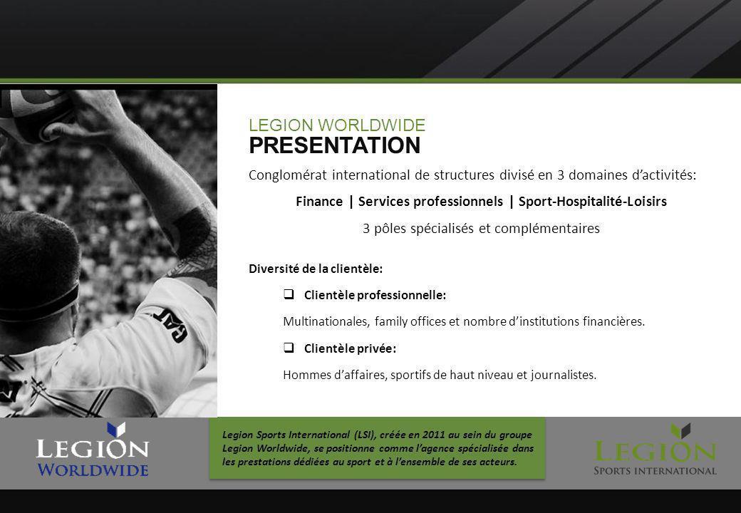 LEGION WORLDWIDE PRESENTATION Conglomérat international de structures divisé en 3 domaines dactivités: Finance   Services professionnels   Sport-Hospi