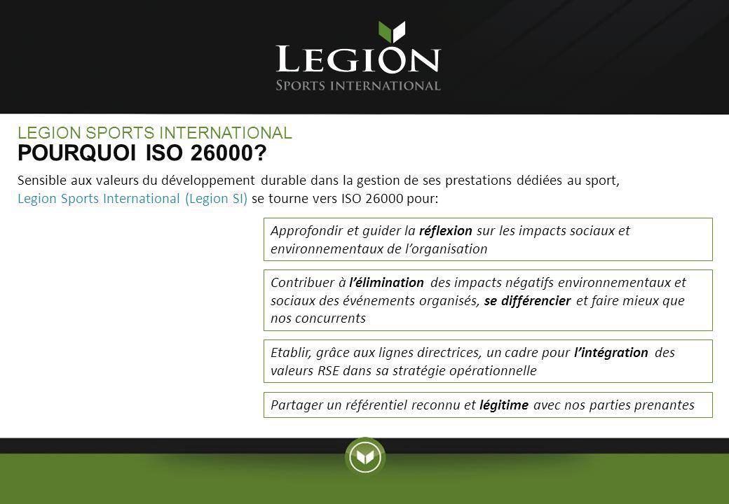 LEGION SPORTS INTERNATIONAL POURQUOI ISO 26000? Sensible aux valeurs du développement durable dans la gestion de ses prestations dédiées au sport, Leg