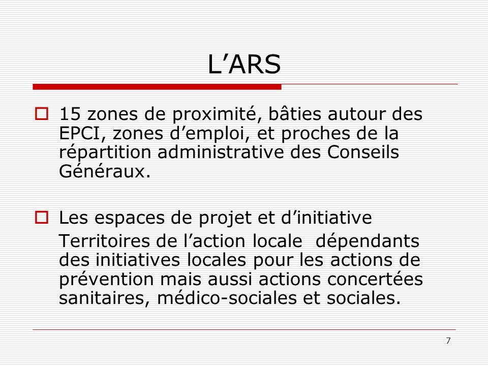 7 LARS 15 zones de proximité, bâties autour des EPCI, zones demploi, et proches de la répartition administrative des Conseils Généraux.