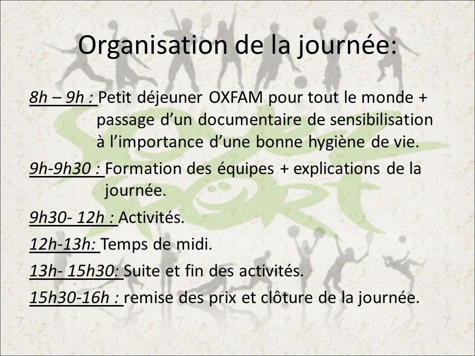 Organisation de la journée: 8h – 9h : Petit déjeuner OXFAM pour tout le monde + passage dun documentaire de sensibilisation à limportance dune bonne h