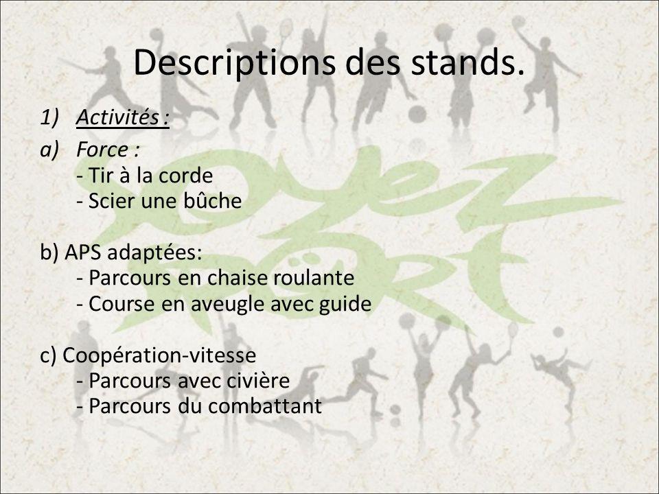 Descriptions des stands. 1)Activités : a)Force : - Tir à la corde - Scier une bûche b) APS adaptées: - Parcours en chaise roulante - Course en aveugle
