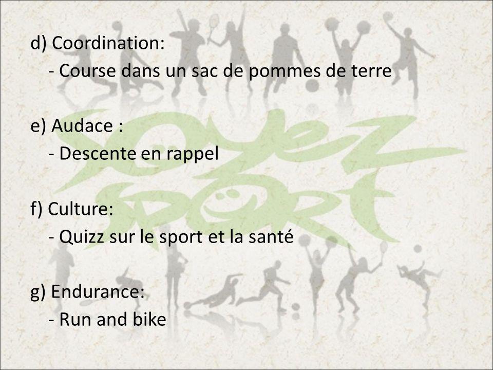 d) Coordination: - Course dans un sac de pommes de terre e) Audace : - Descente en rappel f) Culture: - Quizz sur le sport et la santé g) Endurance: -