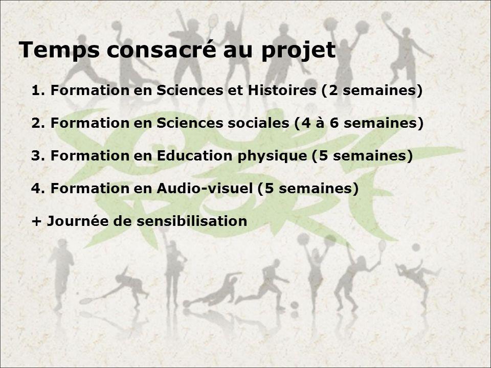 Temps consacré au projet 1. Formation en Sciences et Histoires (2 semaines) 2. Formation en Sciences sociales (4 à 6 semaines) 3. Formation en Educati