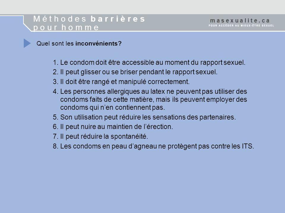 Quel sont les inconvénients? 1. Le condom doit être accessible au moment du rapport sexuel. 2. Il peut glisser ou se briser pendant le rapport sexuel.
