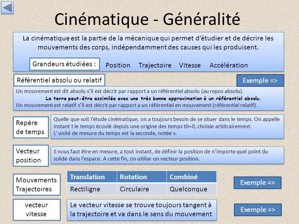 Cinématique - Généralité La cinématique est la partie de la mécanique qui permet détudier et de décrire les mouvements des corps, indépendamment des c