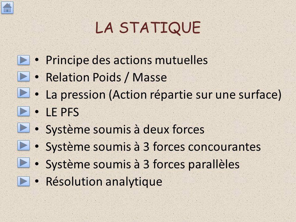 LA STATIQUE Principe des actions mutuelles Relation Poids / Masse La pression (Action répartie sur une surface) LE PFS Système soumis à deux forces Sy