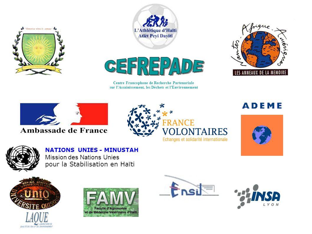 NATIONS UNIES - MINUSTAH Mission des Nations Unies pour la Stabilisation en Haïti Centre Francophone de Recherche Partenariale sur lAssainissement, les Déchets et lEnvironnement